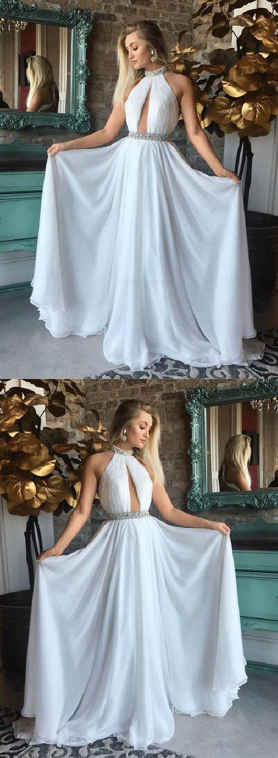 A line halter backless chiffon white long prom dresses with beading