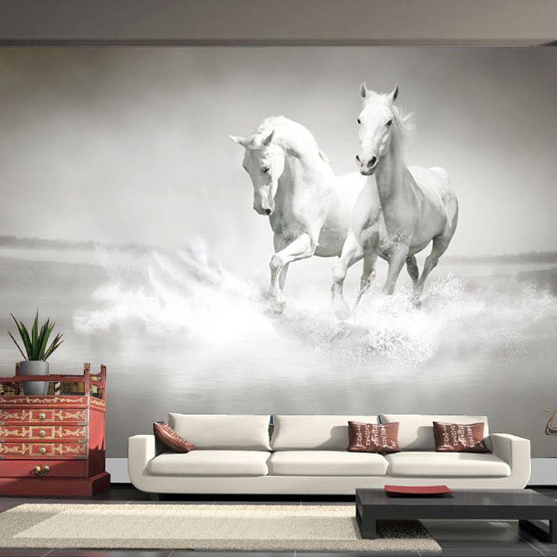 Custom Photo Wallpaper Large Mural Retro White Horse Wall Mural Sofa  Bedroom TV Backdrop Stereo Mural Wallpaper For Walls. Resultado de imagen para murales para pared interior   dibujos