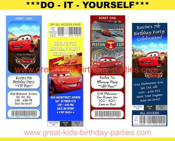 FREE Printable Disney Cars Birthday Party Ticket Invitations