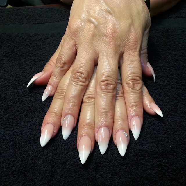 Acrylic Nails Pink On Instagram French Acrylic Nails Stiletto Nails Short Prom Nails French