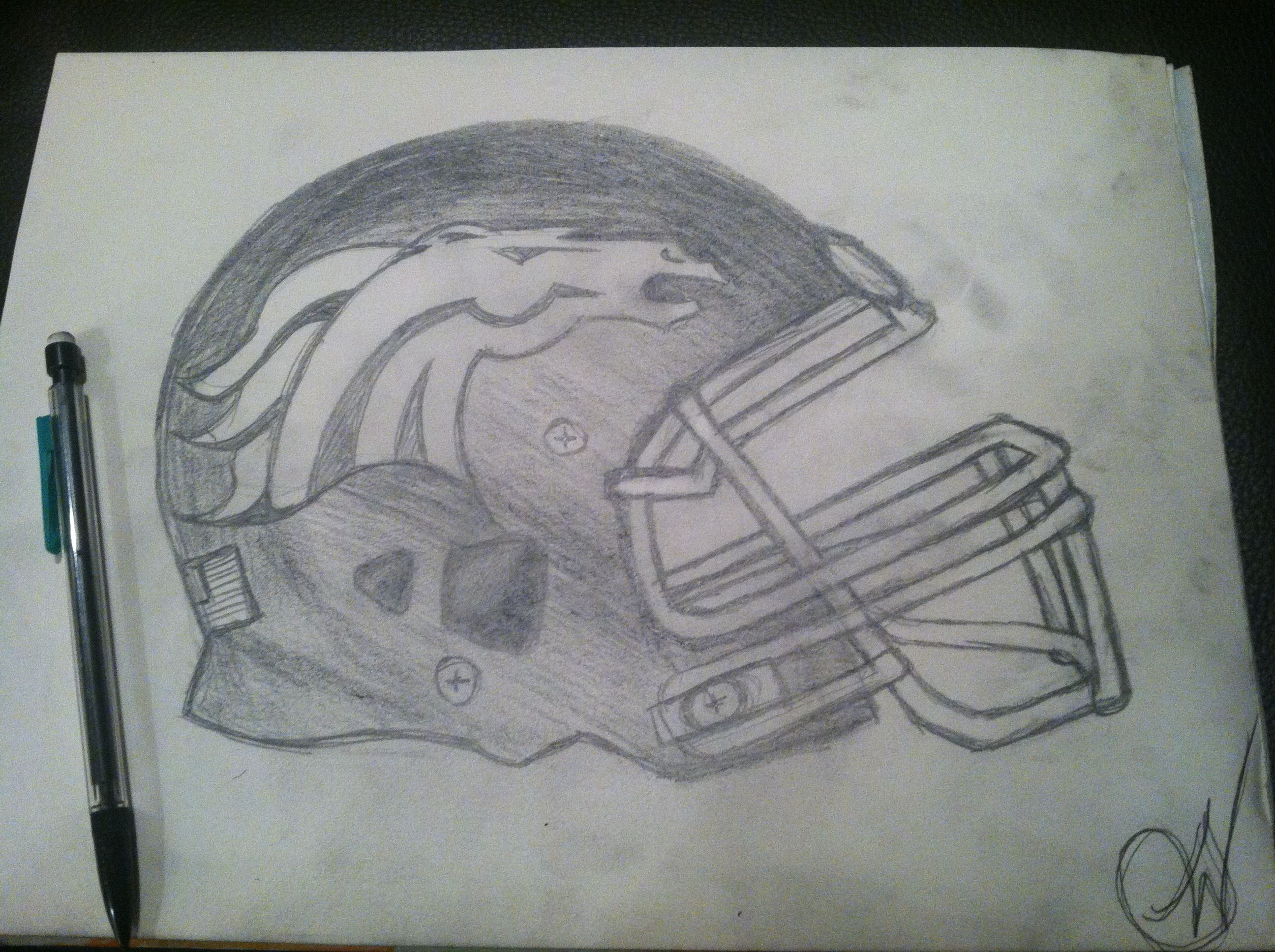 A Drawing I Did Of Denver Broncos Helmet Art Class Drawings