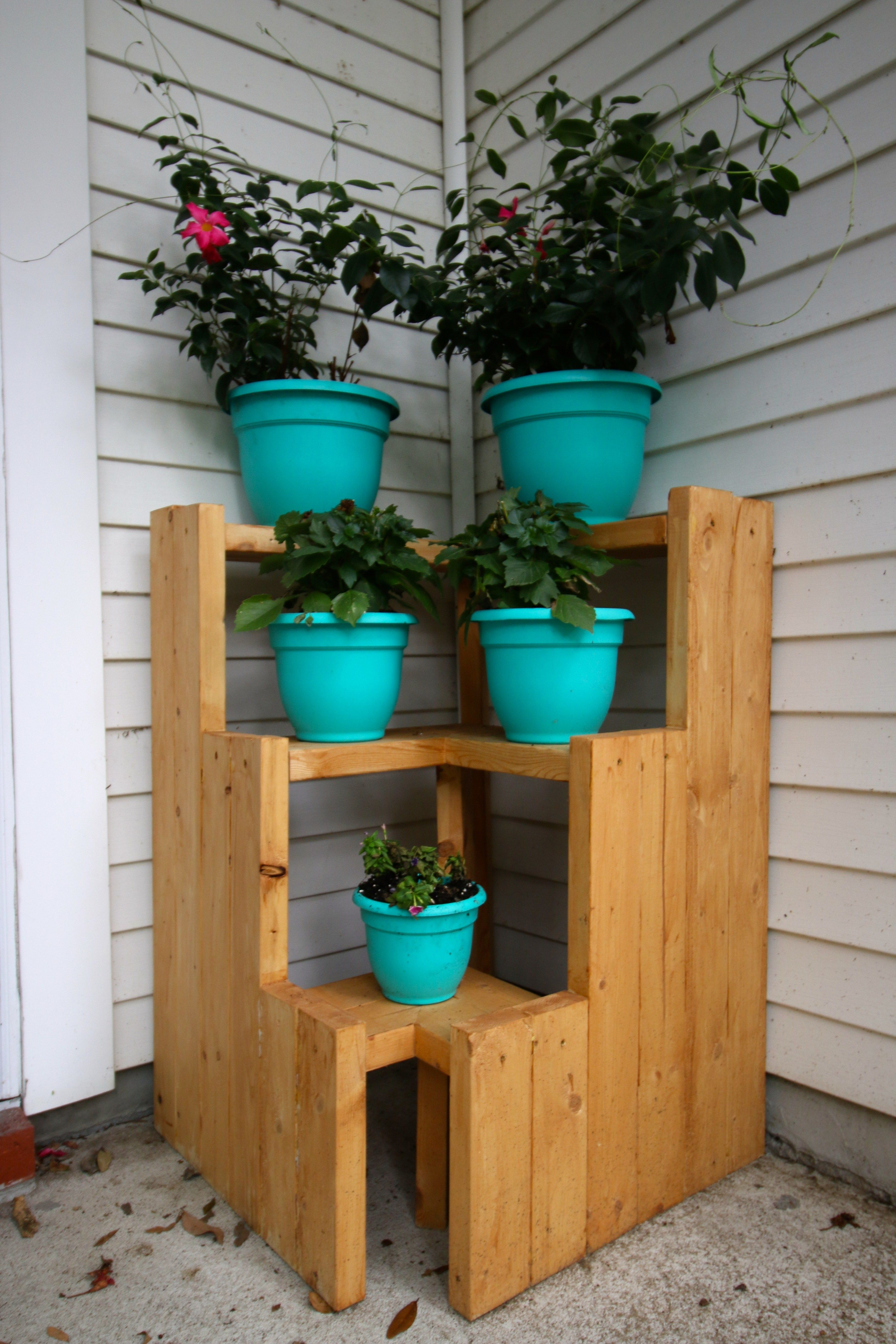 Diy 3 Tiered Corner Plant Stand Corner Plant Plant Stands Outdoor Wood Plant Stand