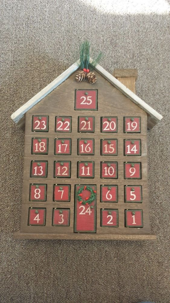 Wooden Advent Calendar House 25 Doors With Chimney Pine