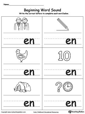 Beginning Word Sound En Words Word Family Worksheets Kindergarten Phonics Worksheets Word Families Printables