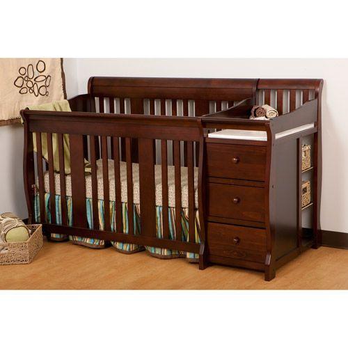 Storkcraft Portofino 4 In 1 Convertible Crib And Changer Espresso Walmart Com Cribs Crib With Changing Table Disney Crib Bedding