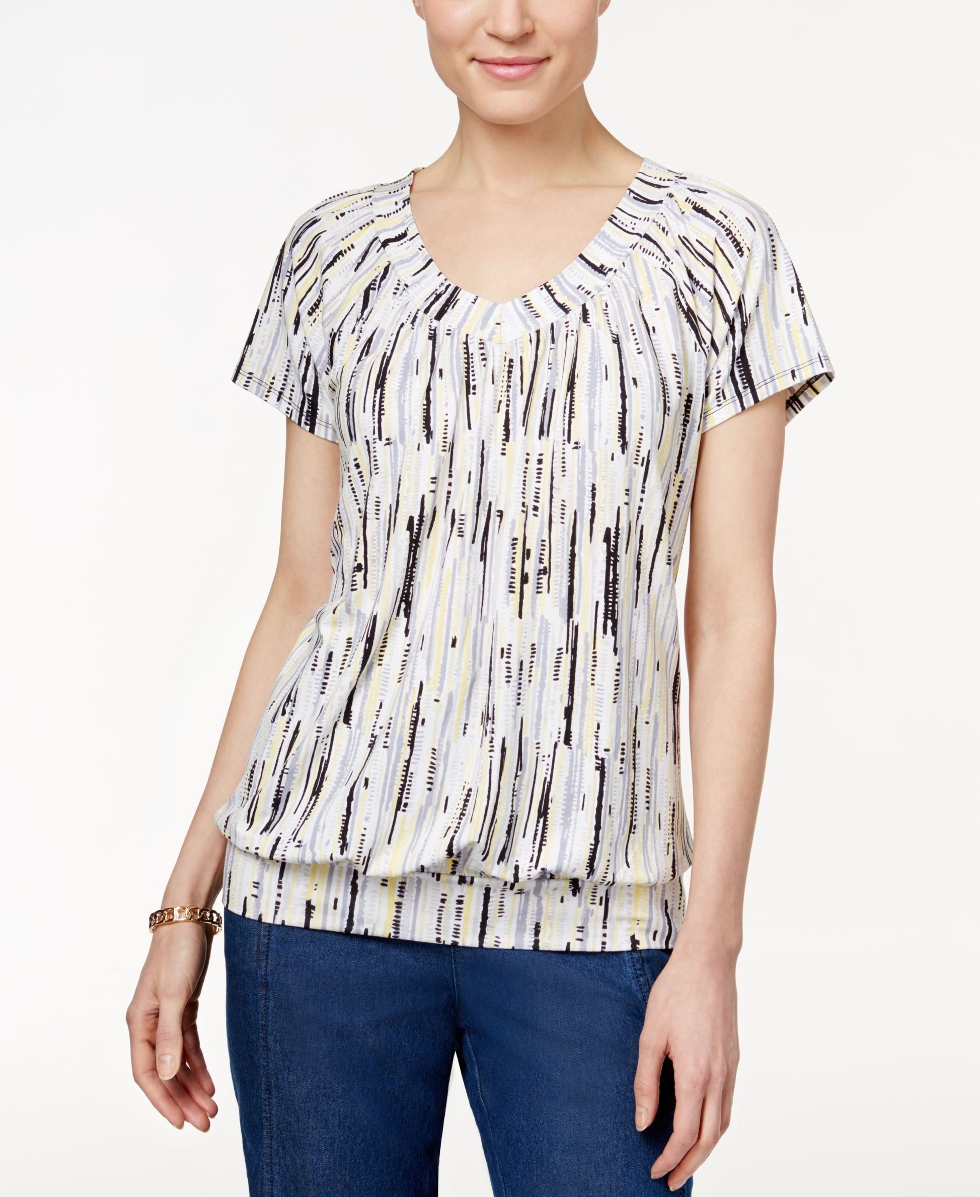 Jm Collection Printed Banded-Hem Top, Only at Macy's