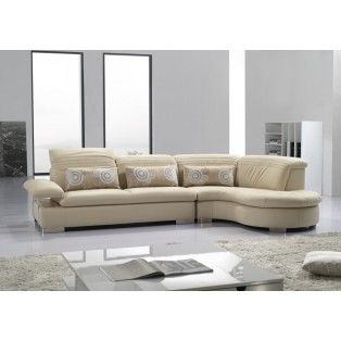 Tan Sofa With Attached Curved Chaise Furniture Leather
