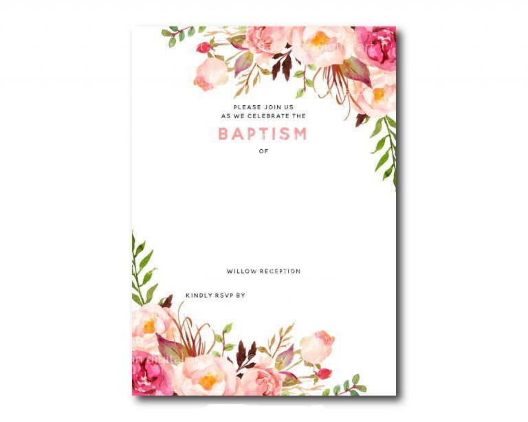 Cars Invitation Card Template Free: Free-Printable-Baptism-Floral-Invitation-Template
