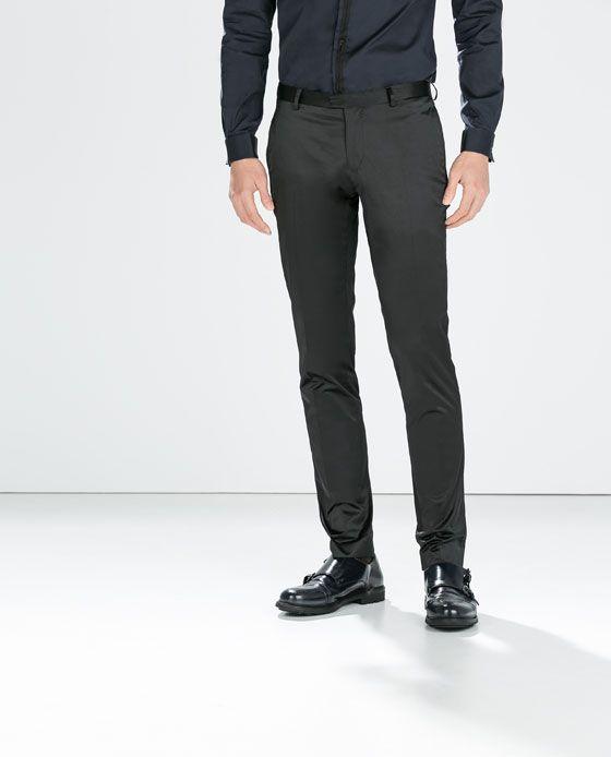 Hombres Negro Hombre SATÉN PANTALÓN Negro Pantalones Zara NEGRO Satinado wATnqI8xf