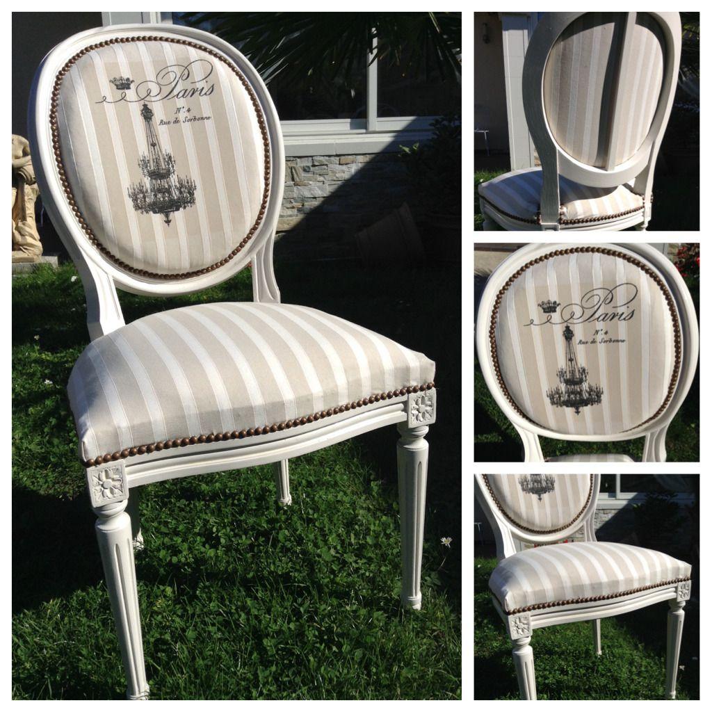 """Renover Une Chaise Medaillon chaise médaillon """"paris"""" beige shabby chic : meubles et"""