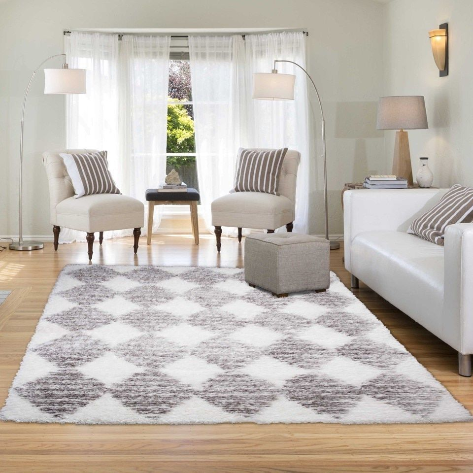 10x10 master bedroom  Home Dynamix Glimmer Collection Grey and White Microfiber Area Rug