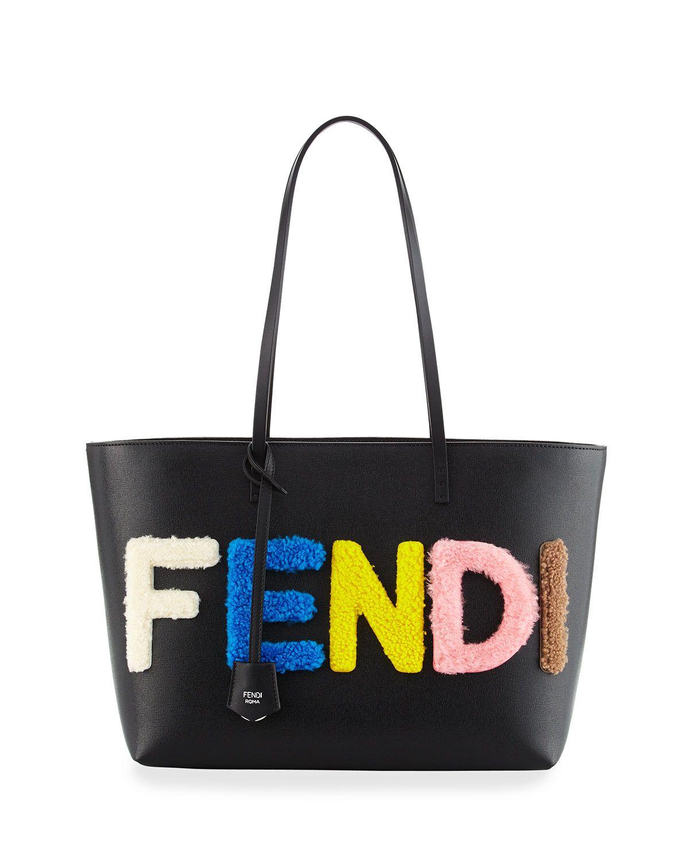 43daedff55 Fendi Shearling Fur Logo Lettering Small Roll Tote Bag