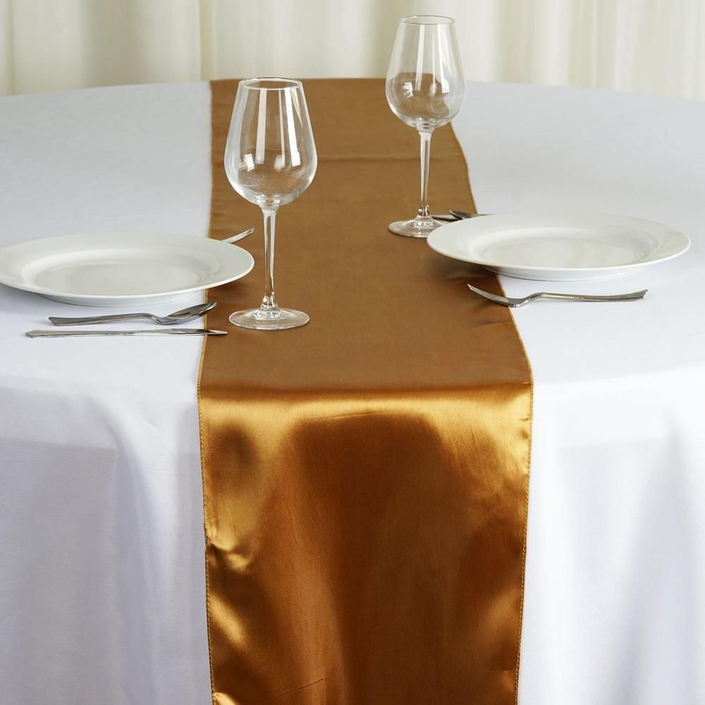 12 X108 Gold Satin Table Runner Table Runners Round Table Decor Gold Table Runners