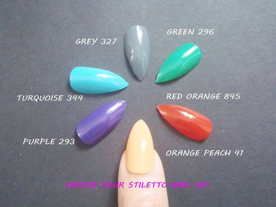 bright colors stiletto false nails uñas glue on by LaSoffittaDiSte