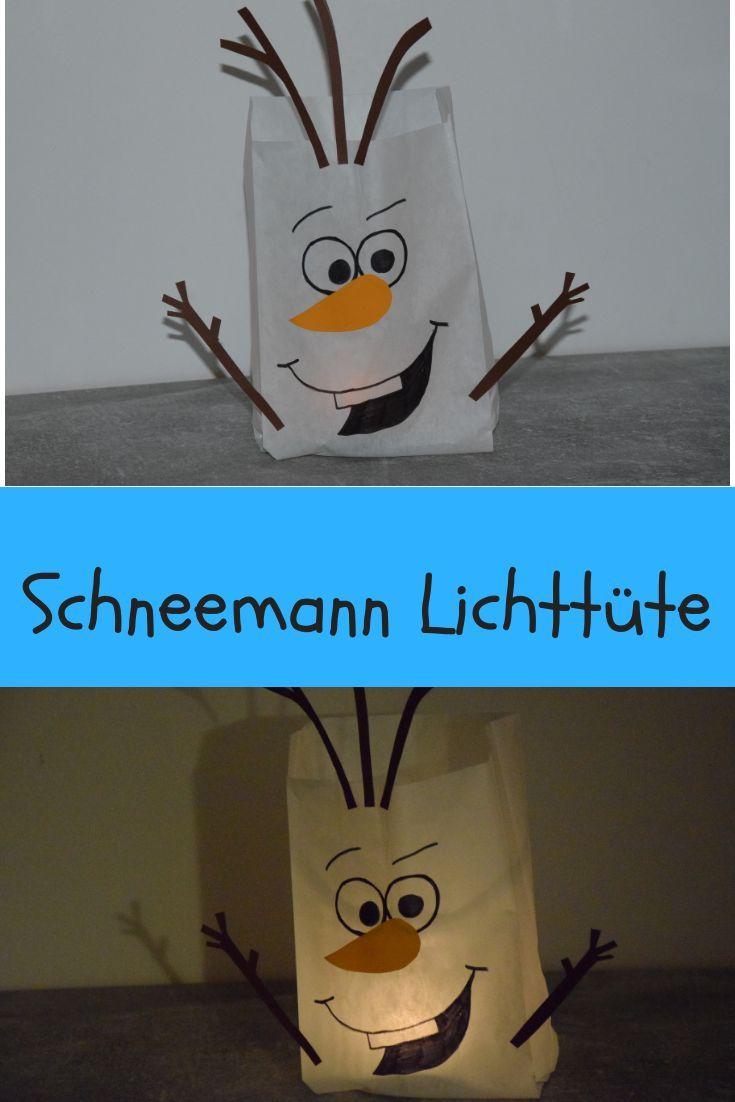 Aus einer Butterbrottüte eine kleine Laterne bzw ein Licht basteln. Olaf aus die Eiskönigin #weihnachtenbastelnmitkindern