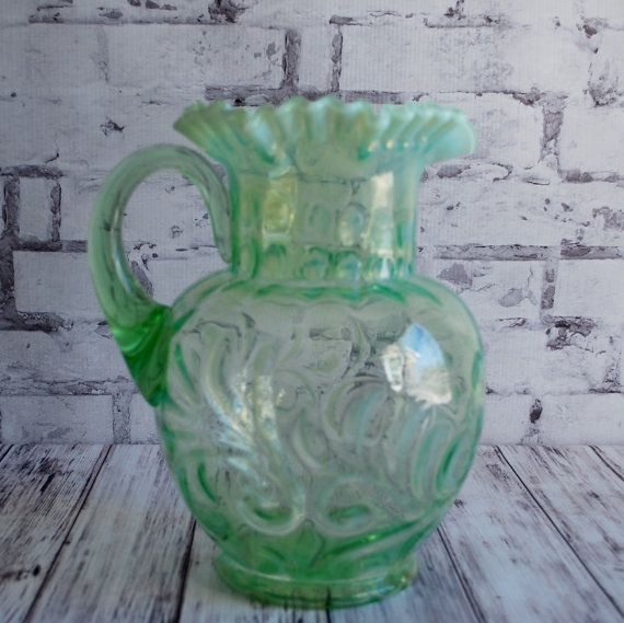 Jefferson Glass Co. Green Victorian Glass by CountryGirlsVintage