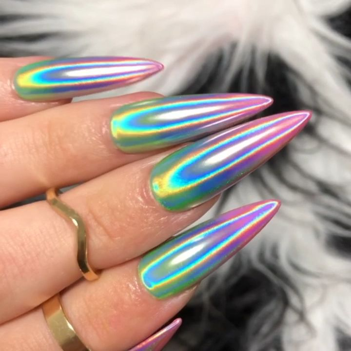 Photo of Rainbow Holographic Nails – Dippy Cow Nails