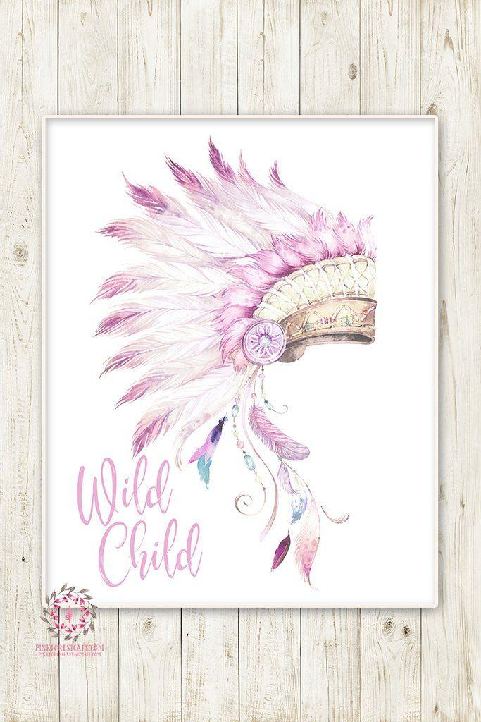 Wild Child Indian Headress Boho Purple Feather Nursery