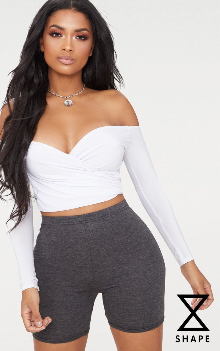 28b6003ac23584 Shape White Slinky Bardot Crop Top in 2019
