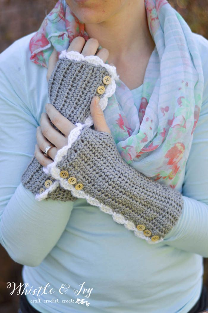 Crochet Vintage Arm Warmers with Thumbholes | Ganchillo libre ...