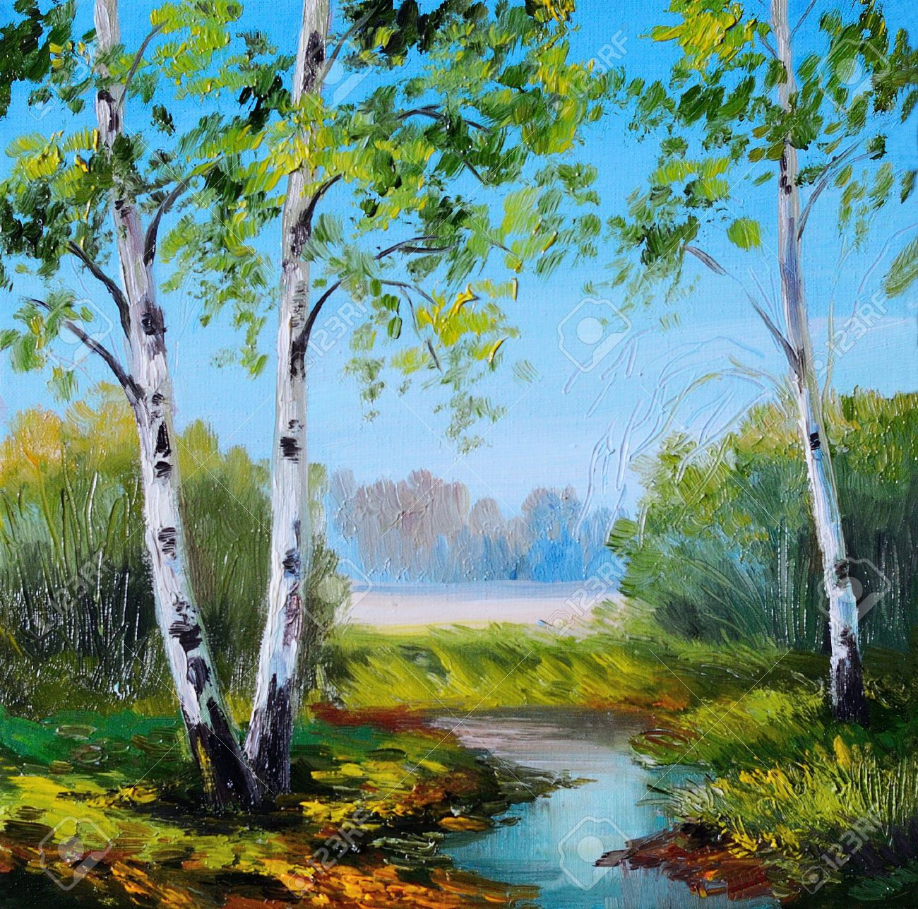 Oil Painting Birch In The Field Near The River Summer Spring Landscape Art Painting Birches Painting Birch Trees Painting