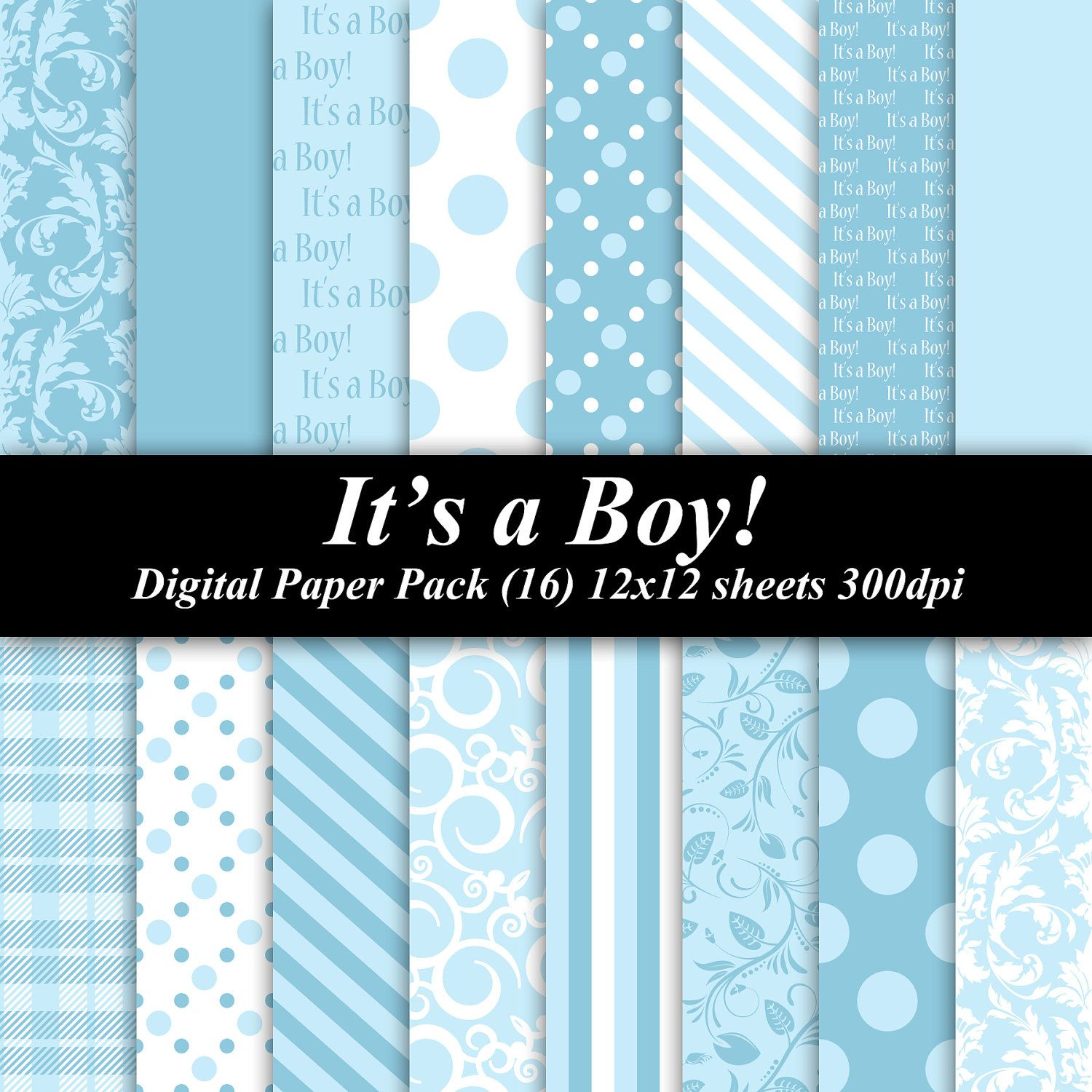 BUY 2 GET 1 FREE - It\'s a Boy Paper Pack (16) 12x12 sheets 300 dpi ...
