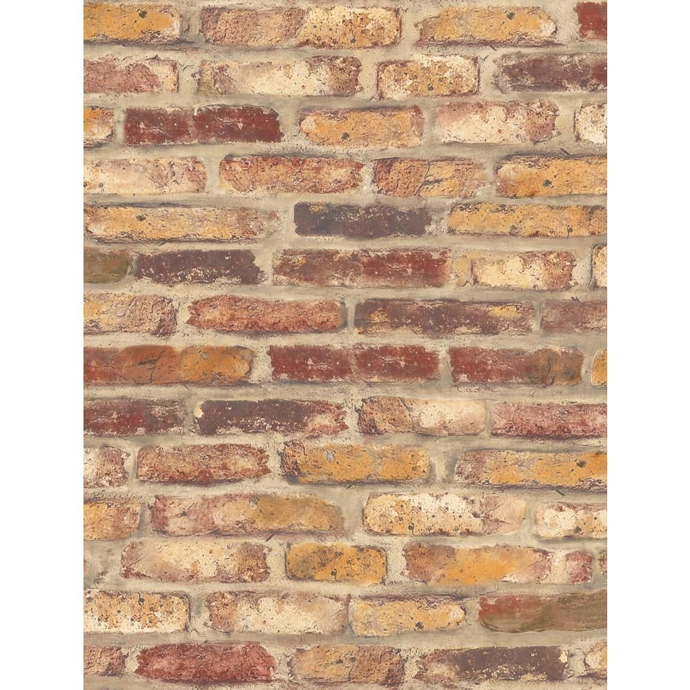 NextWall Red Faux Rustic Brick Peel and Stick Wallpaper in