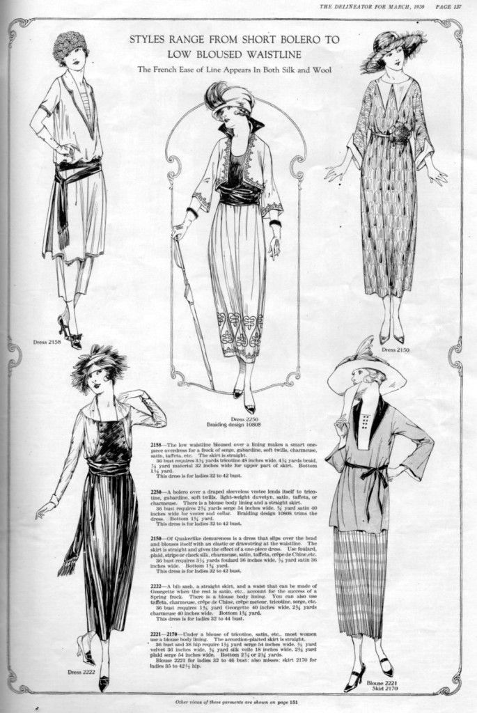 "1920 Fashion from the Delineator magazine. ""Styles Range from Short ..."