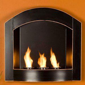 Malden Black Wall  Gel Fuel Mount Fireplace