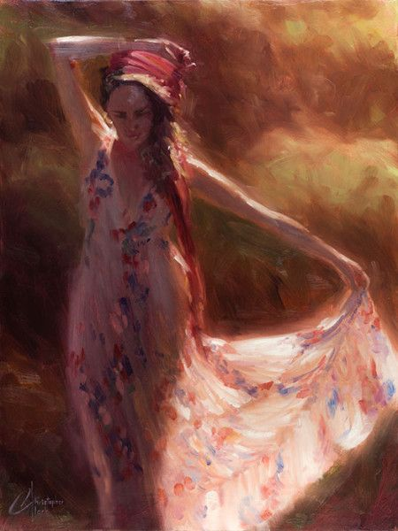 The Red Scarf Original Female Figure Oil Painting By Artist Christopher Clark