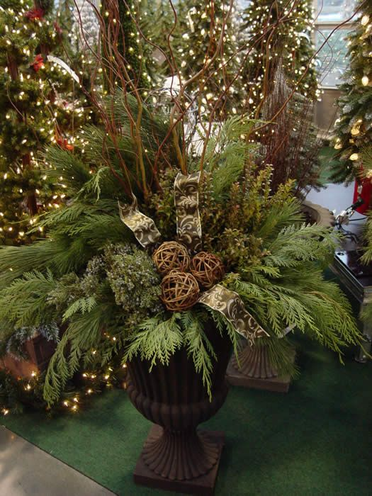 Winter Container Outdoor Christmas Decorations Christmas Greenery Christmas Deco
