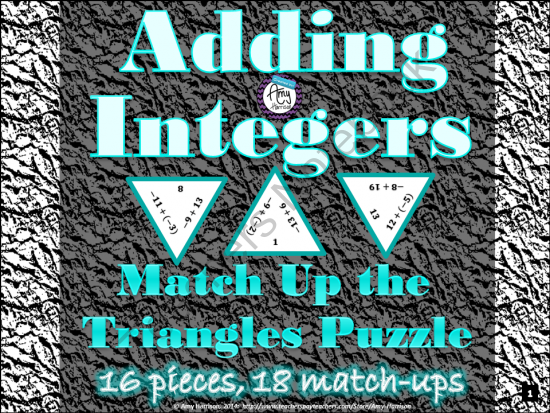 Adding Integers Triangle Puzzle #1 from Amy-Harrison on ...