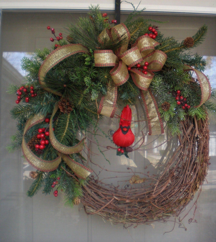 Front Door Wreath,Winter wreath,wreath,holiday wreath,outdoor wreath. $40.00, via Etsy.