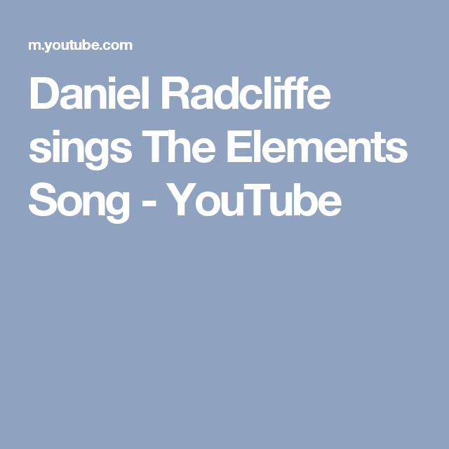 Daniel radcliffe sings the elements song youtube periodic table daniel radcliffe sings the elements song youtube urtaz Images