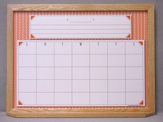 Burnt Orange Herringbone Monthly Whiteboard Calendar Framed Dry