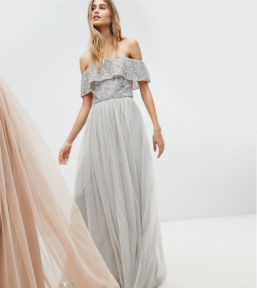c9519037c Maya Bardot Sequin Top Tulle Detail Dress With High Low Hem - Gray