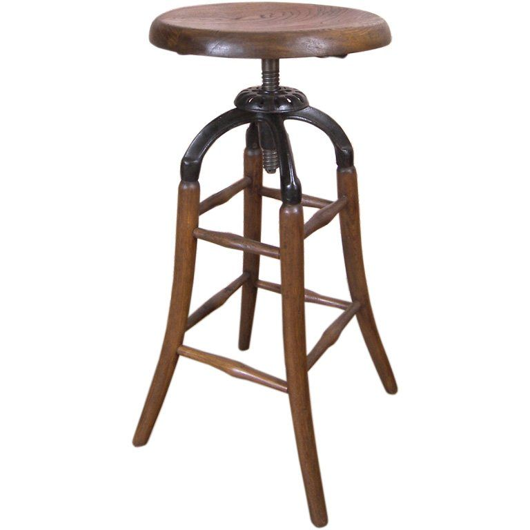 Vintage Wooden Stool Vintage Industrial Wood And Cast Iron Adjustable Drafting Stool At Antique Dining Chairs Farmhouse Table Chairs Retro Bar Stools