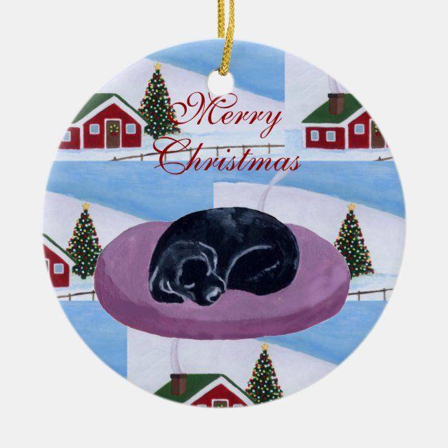 Cute Black Labrador Puppy Christmas Ceramic Ornament #labrador #retriever #christmas #cute #holiday #CeramicOrnament #labrador #christmas