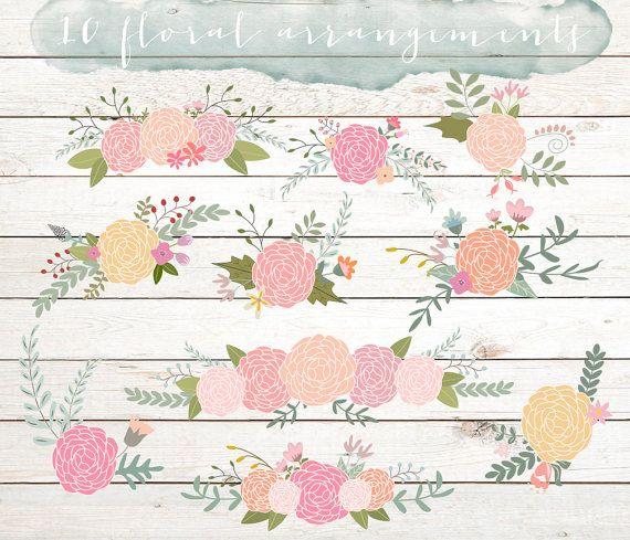 Composizioni floreali matrimonio ClipArt, clipart di ranuncolo