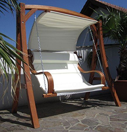 ASS MERU Balancelle de jardin 2 places en bois avec toit ...