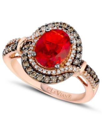 Le Vian Fire Opal (9/10 ct. Chocolate ( 1/3 ct. t.w.) and White Diamond (1/6 ct. t.w.) Ring in 14k Rose Gold | macys.com