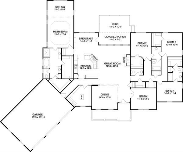 4 Bedrooms On 1 Story Custom Home Plans House Plans Dream House Plans