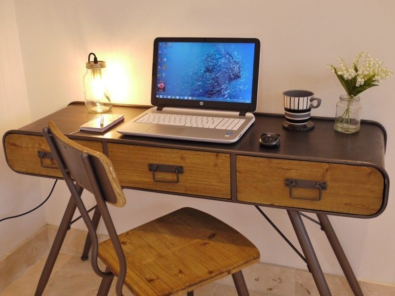 Stunning Urban Vintage Style Console Table/computer Desk U0026 Chair Set  3385/3384 $325 Good Price