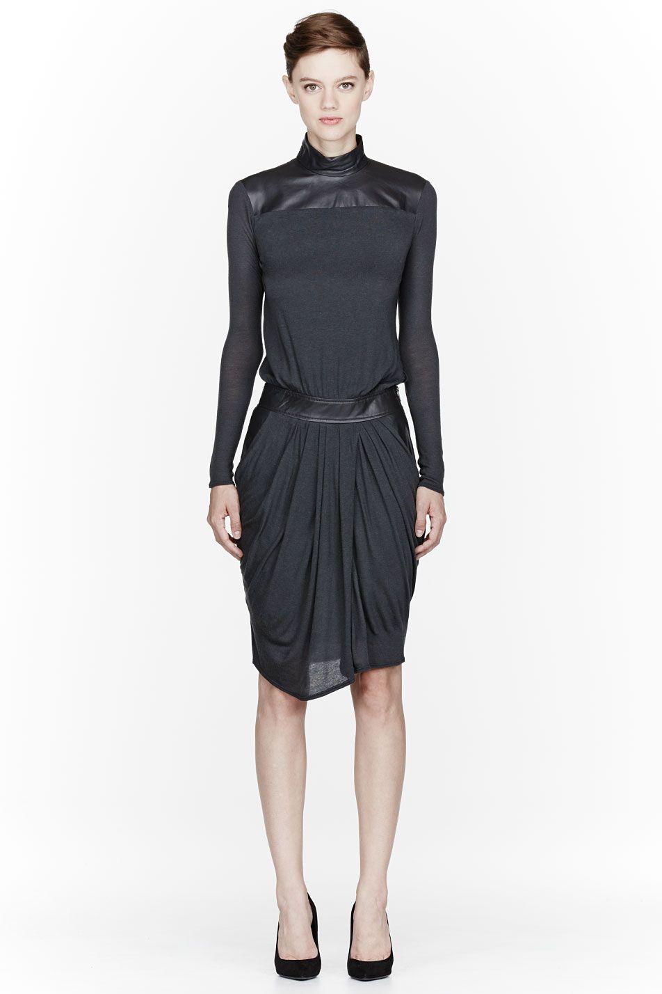Helmut LANG | Charcoal Leather & Jersey Turtleneck Dress