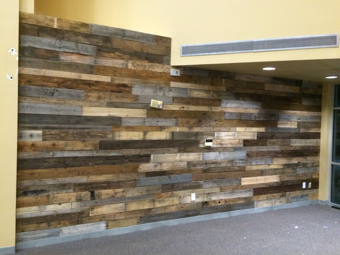 Reclaimed pallet wood wall at church - Reclaimed Pallet Wood Wall At Church My DIY Pinterest Pallet