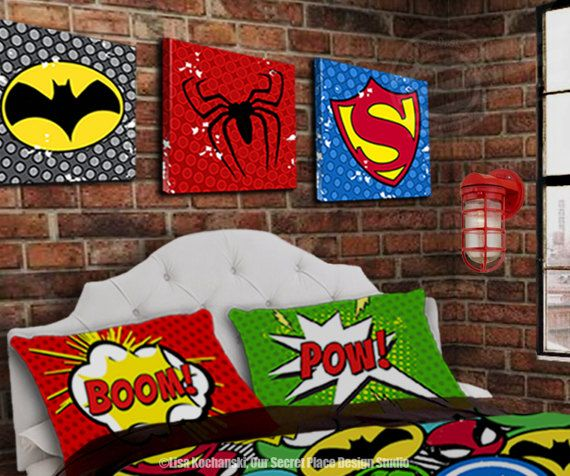 Superhero Wall Art for Boys Room Wall Art for Kids Bedroom  Etsy