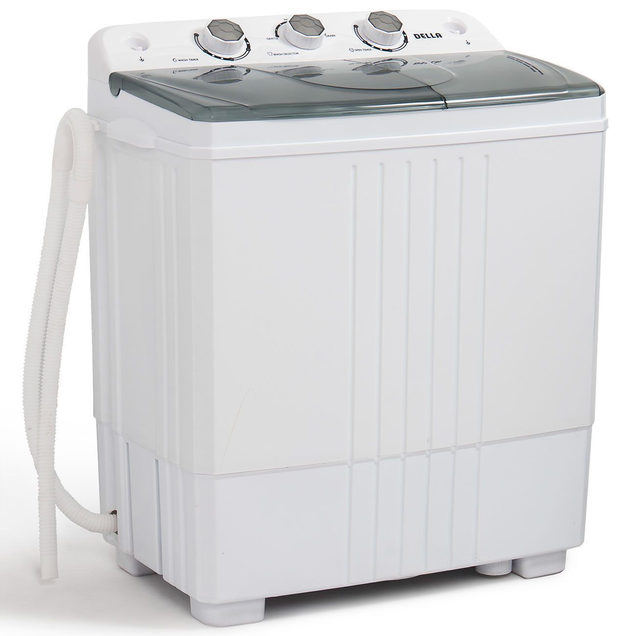 DELLA Electric Mini Washing Machine Home Twin Tub 8.8LBS Portable Compact Washer and Spin Dry Cycle Built-in Drain Pump w//Hose