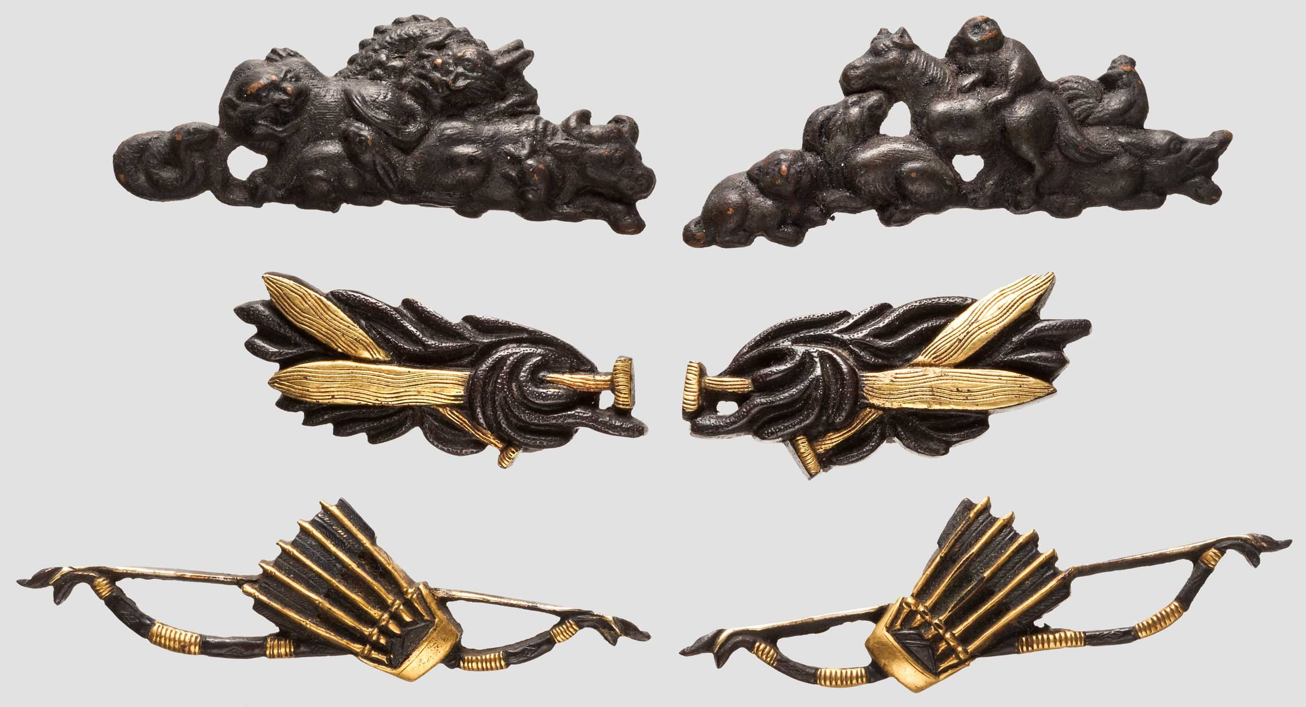 Three pairs of menuki, late Edo period - Lot detail - Hermann Historica oHG