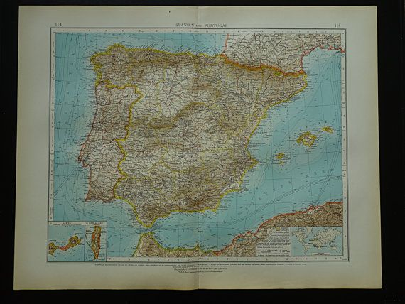 SPAIN map LARGE 1910 map of Spain Beautiful old very detailed big