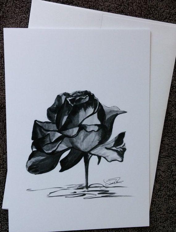 Dessin D Une Rose En Noir Et Blanc Tresor Cache Carte 5 X 7